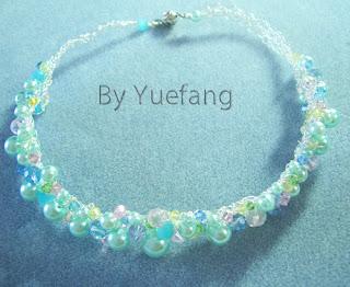 Bluish_Cluster_Wire_Crochet_Necklace