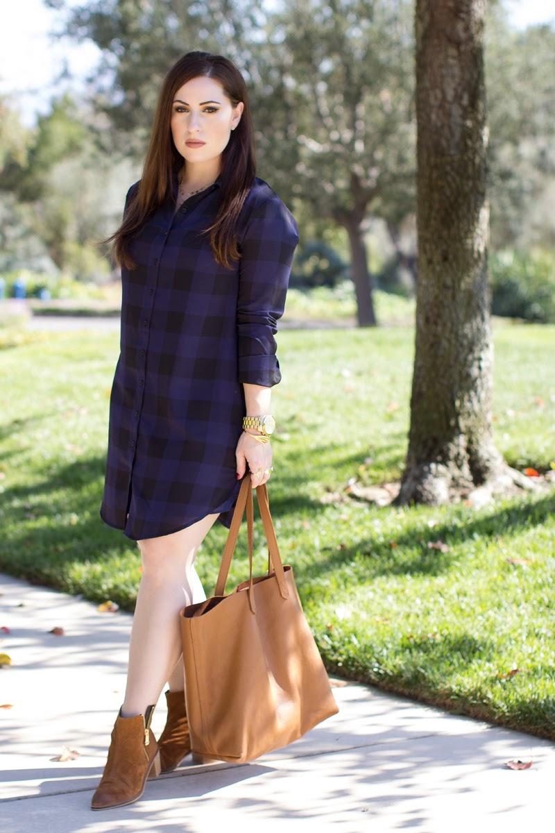 bb dakota blue plaid dress, cuyana tote, report signature brown suede boots