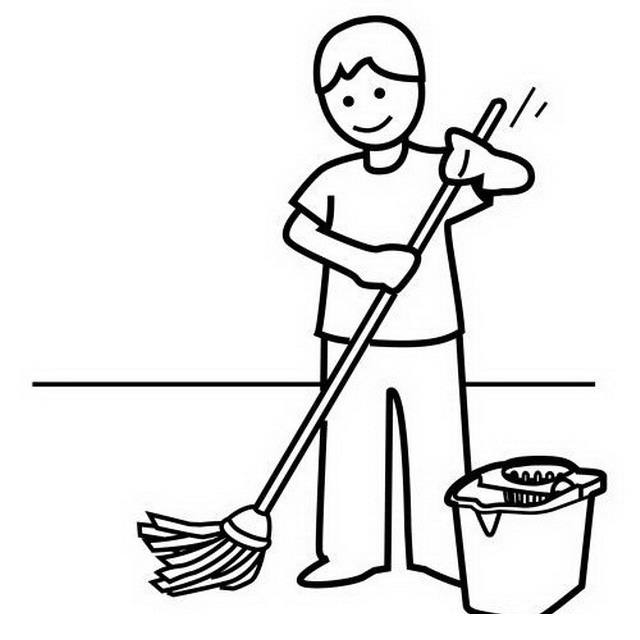 mop and broom coloring page coloring pages