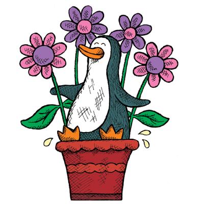 Penguin peeing in a flowerpot
