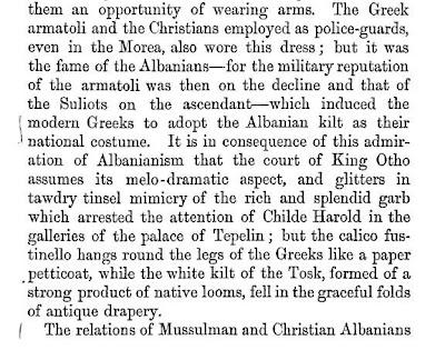 Il Re della Grecia fece diventare la fustanella albanese un costume nazionale.(1860)