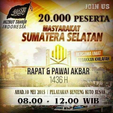 RPA PALEMBANG | RAPAT DAN PAWAI AKBAR | HTI| SUMATRA SELATAN | Ahad, 10 Mei 2015 |  Pkl 08.00 - 12.00 WIB | di Pelataran Benteng Kuto Besak | Palembang