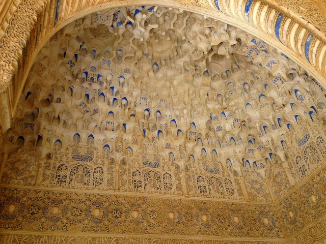 Intricate carved ceilings at the Alhambra on Semi-Charmed Kind of Life