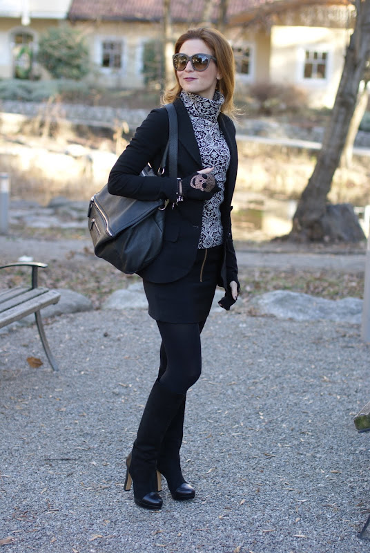 black and white outfit, Maison Scotch miniskirt, Givenchy bag, Scooter Plus sweater, Fashion and Cookies