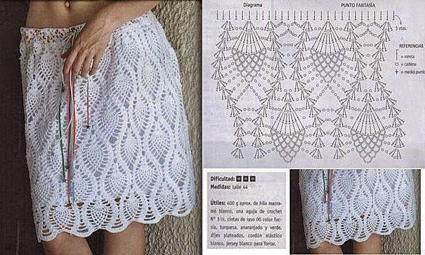falda crochet punto piña