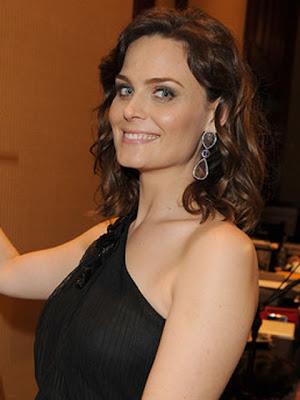 Emily Deschanel Dangling Gemstone Earrings