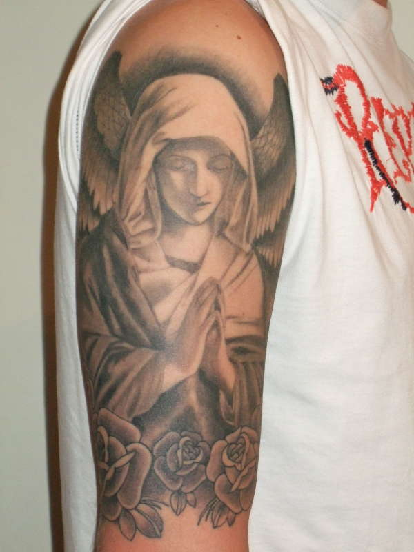 Sleeve tattoo designs need tattoo ideas collection of for Angel half sleeve tattoo