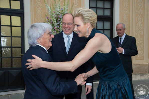 Prince Albert of Monaco and Princess Charlene of Monaco hosted an cocktail party in the Princely Palace courtyard on May 23,2015 in Monaco.