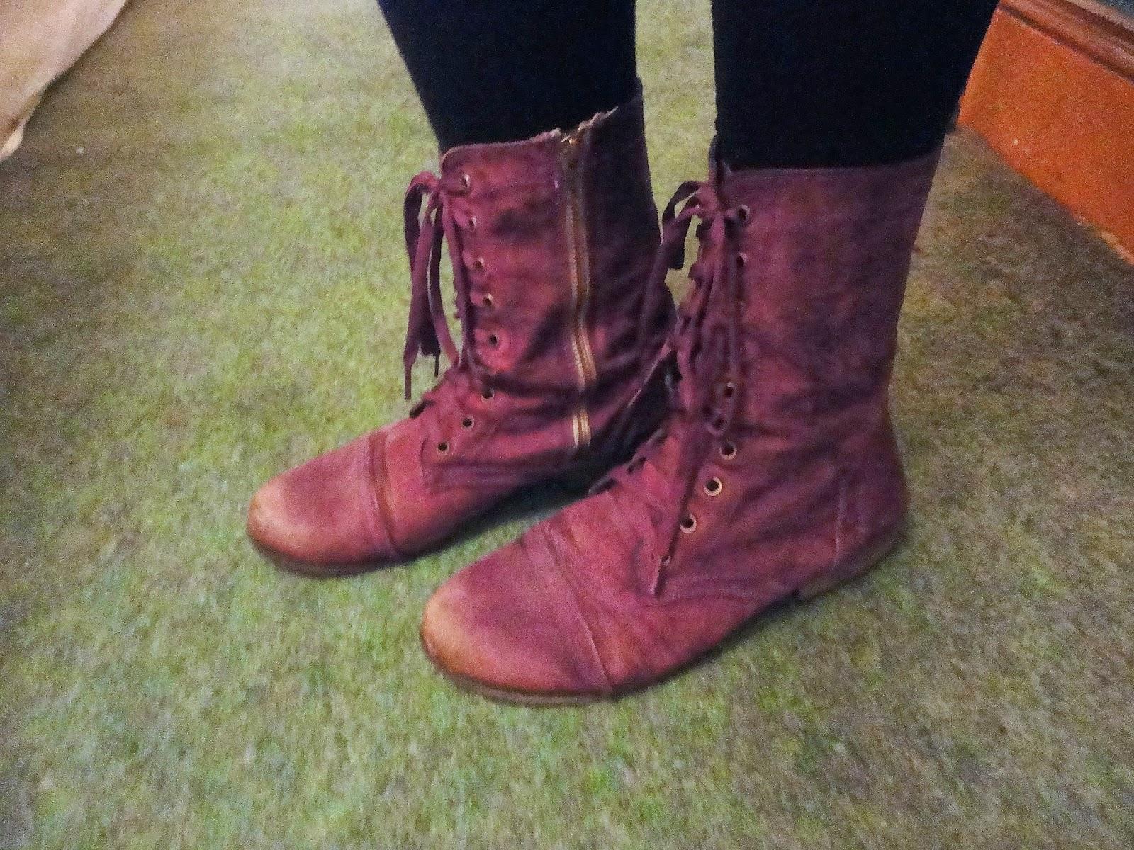 Purple combat boots
