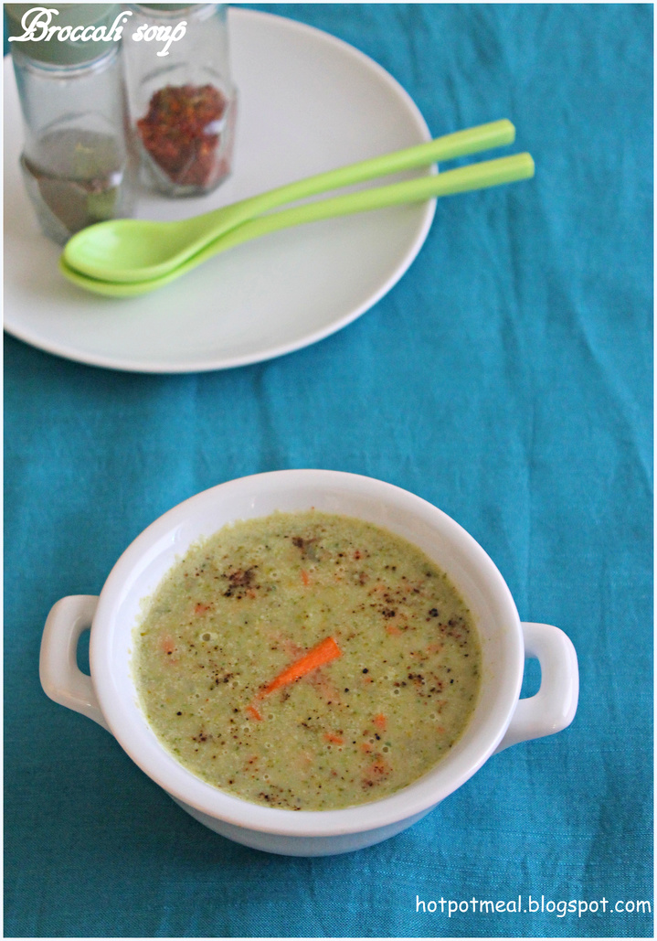 Hot pot cooking: Broccoli soup with coconut milk