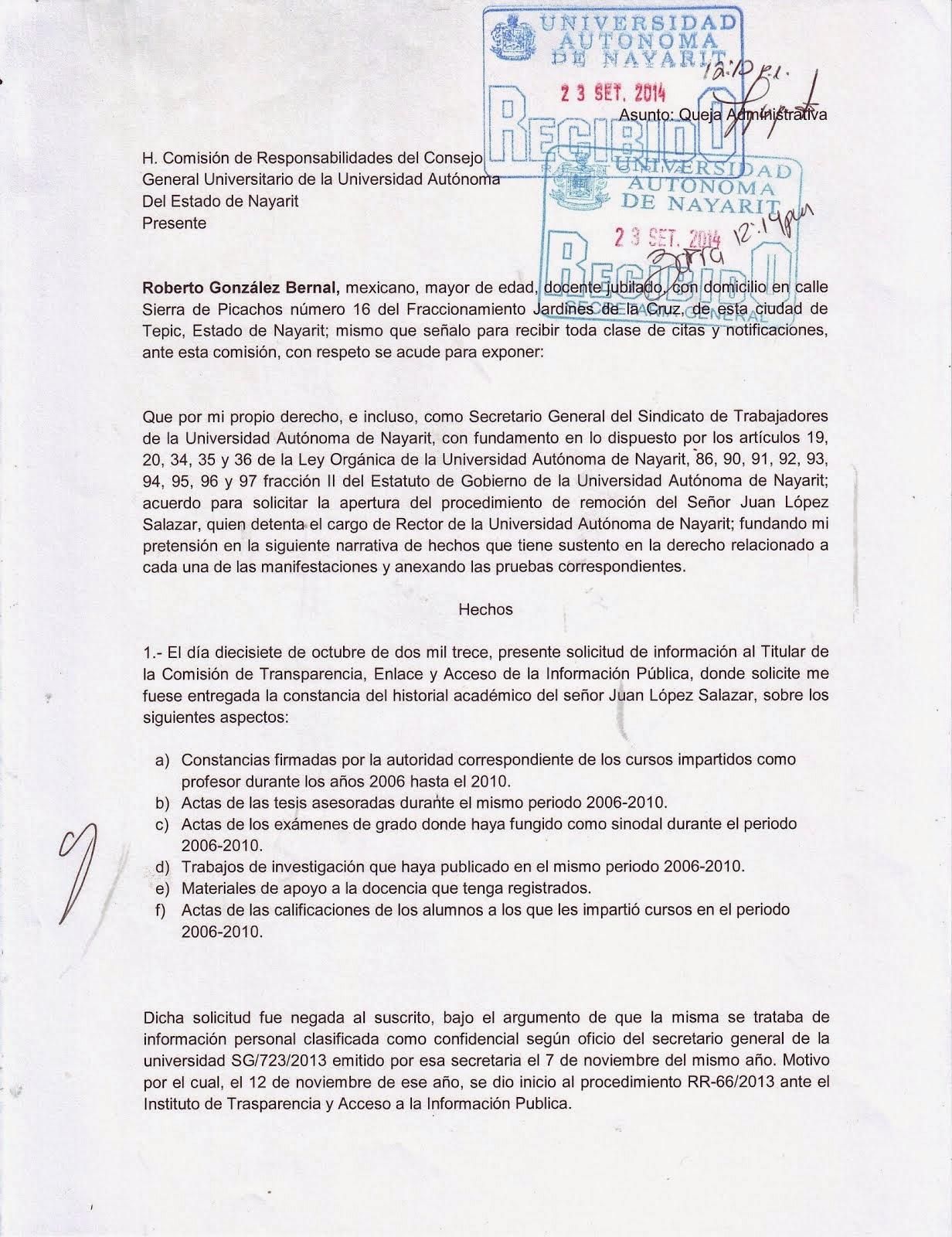 SOLICITUD DE REMOCIÓN RECTOR