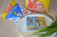 Продукты для печенья с отрубями и зеленым луком