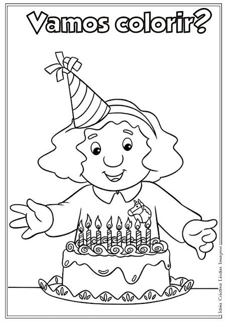 Desenho de Aniversariante para colorir