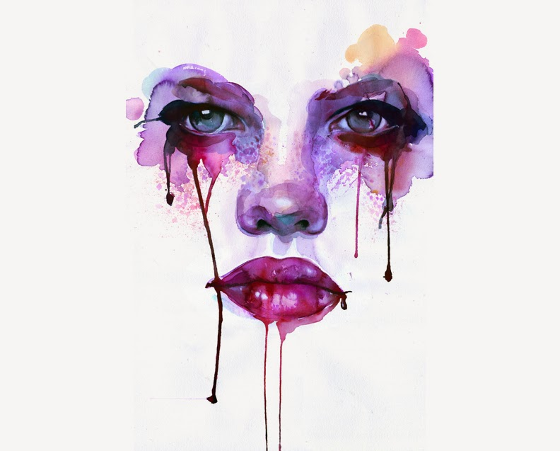 Intense Watercolor Painting Blood Tears Female Face Feminine Portrait