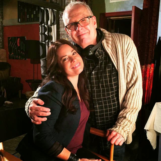 Holly Marie Combs and Norman Buckley on PLL Set