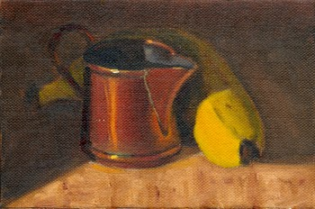 Oil painting of a small copper jug in front of a banana partial obscured by shadow.