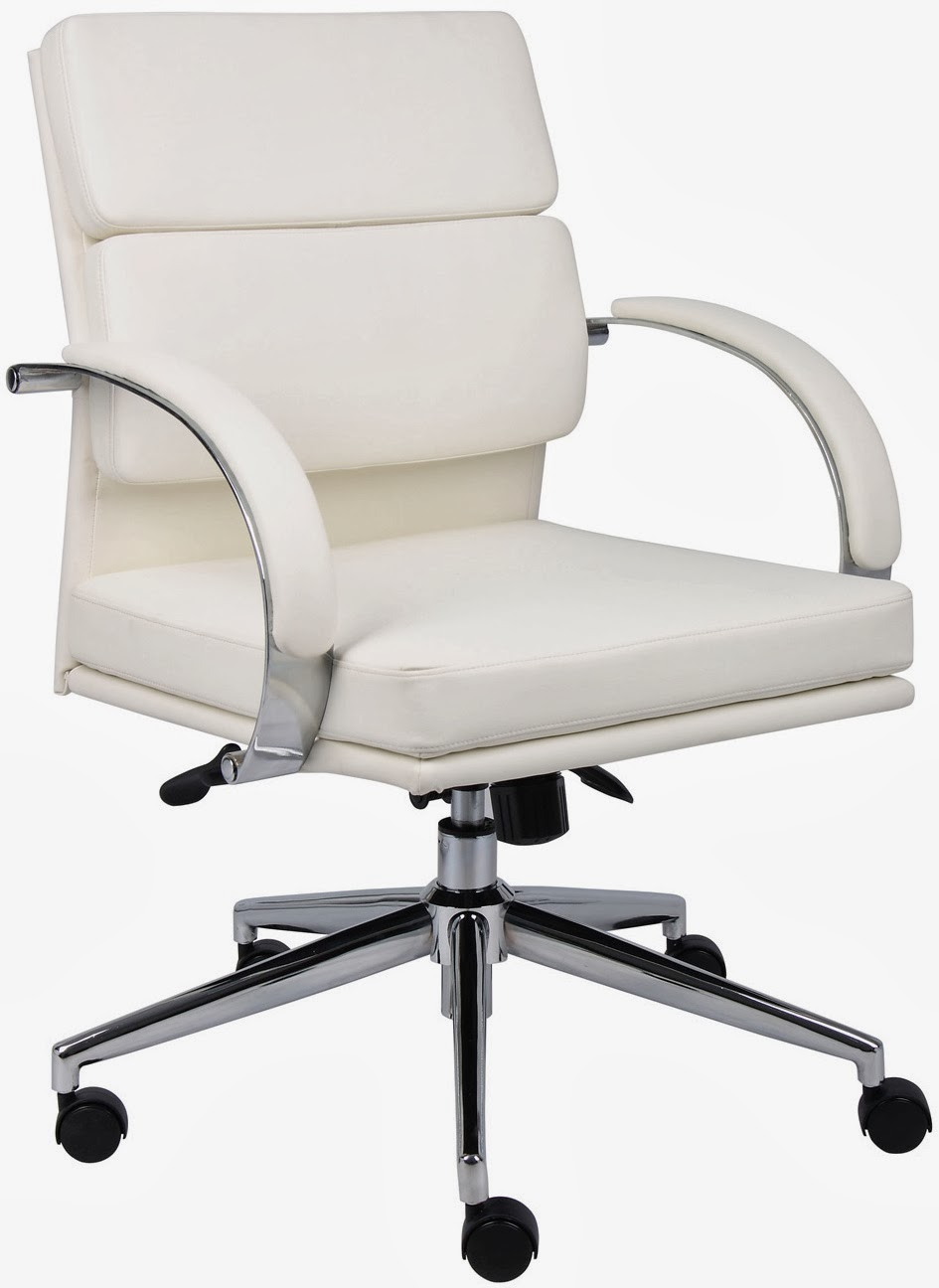 Boss White Leather Conference Chair