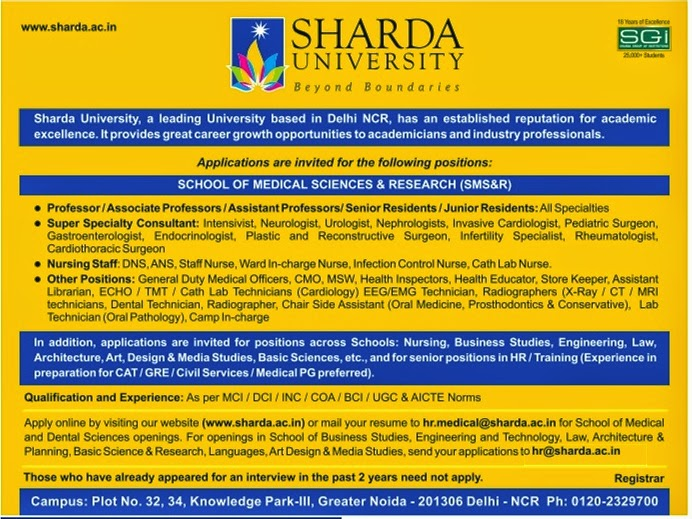 sharda university wanted professor   associate professor  assistant professor