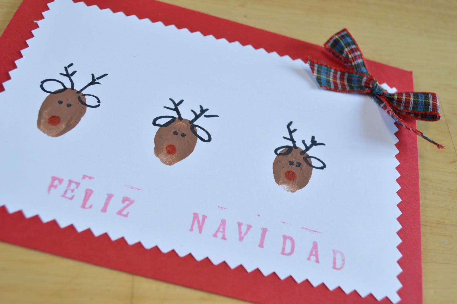 Postales de navidad renos con huellas de dedos elenarte - Tarjeta de navidad manualidades ...
