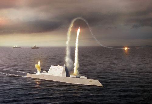 Ảnh đồ họa Zumwalt phóng tên lửa tấn công mục tiêu trên biển.