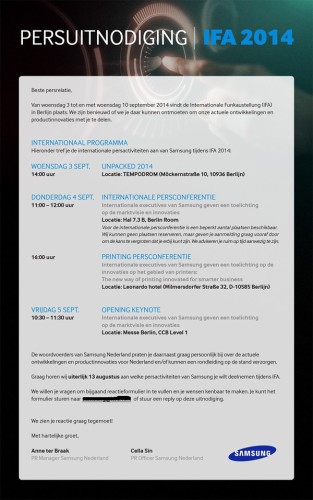 Rilasciati l'inviti per l'evento IFA 2014 di Samsung