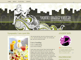 blogger template urban rooftop garden cocktail party green tan black