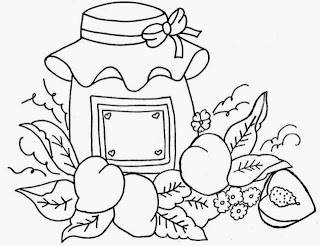 desenho pote de geleia de pessegos para pintar