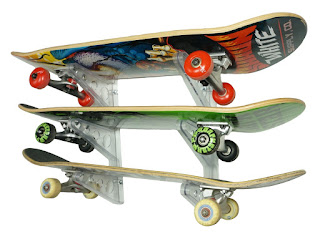 clear skateboard display rack