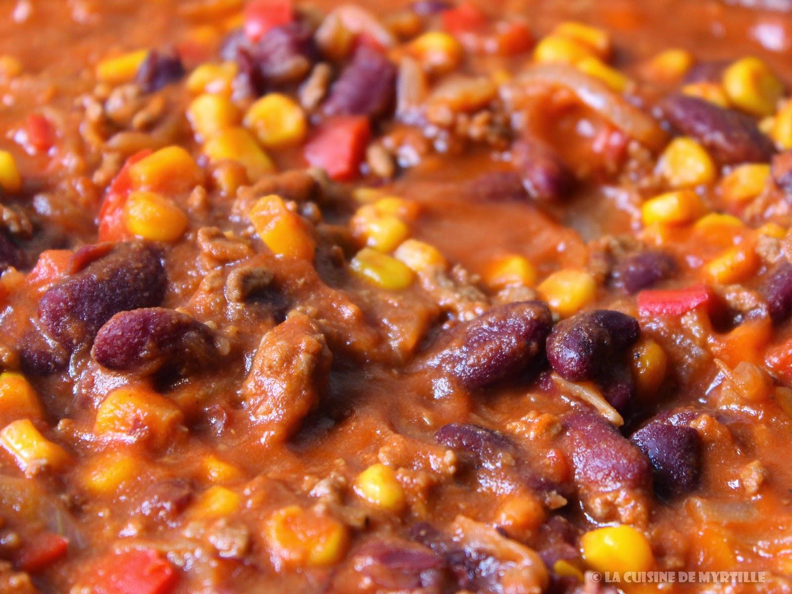 Voir la recette du chili con carne (peu épicé)