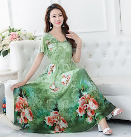 2017 Fresh Green Rose Print Chiffon Past Knee Length Dress