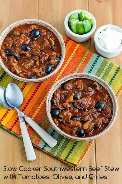 Slow Cooker Southwestern Beef Stew with Tomatoes, Olives, and Chiles