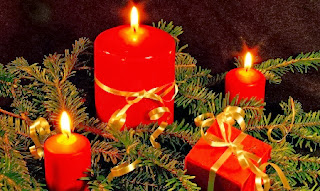 Decoración Navideña, Velas Rojas