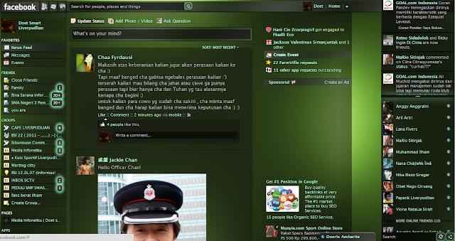 tampilan facebook green