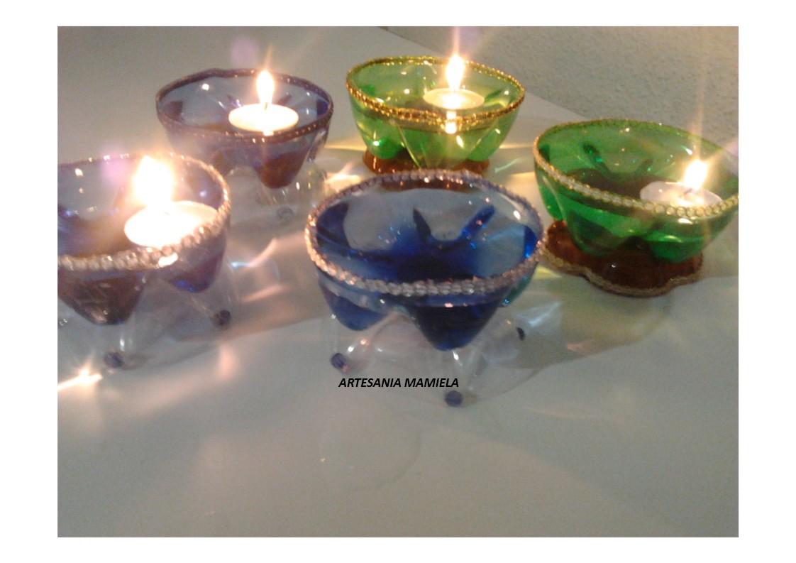Porta velas con botellas de plastico manualidades para - Botellas con velas ...
