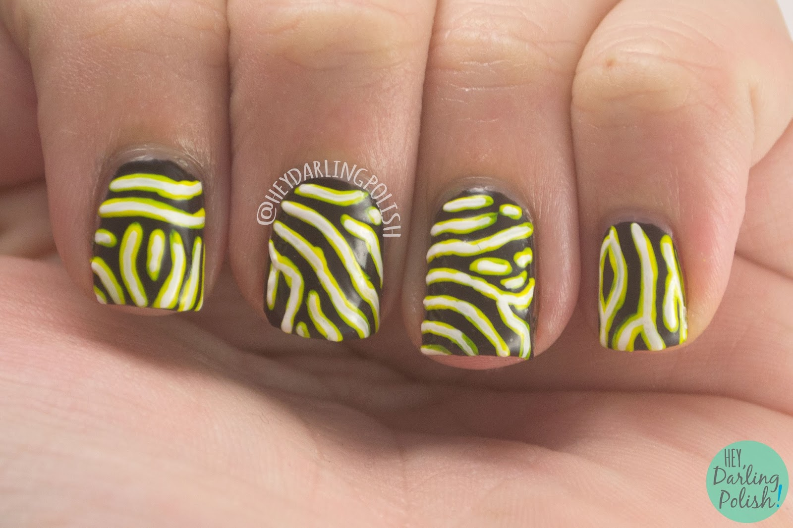 nails, nail art, nail polish, animal print, map puffer fish, hey darling polish, 31 day challenge, 31dc2014