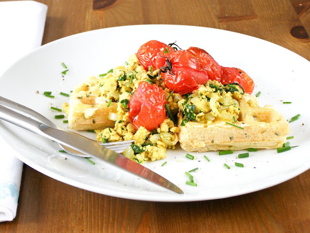 Chive Cornmeal Waffles with Tofu Scramble and Roasted Cherry Tomatoes