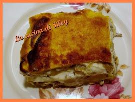 Lasagna di crespelle con carciofi, ricotta e formaggio