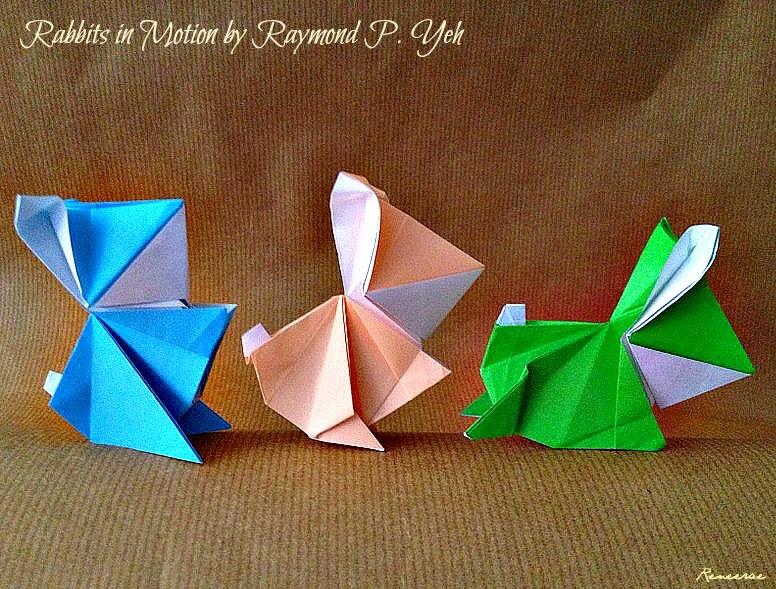 Lifes Simple Pleasure Origami Design Chibi Rabbits In Motion
