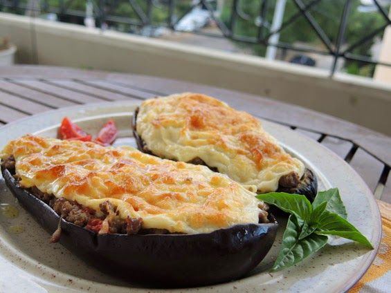 Eggplant with minced meat and béchamel, Corfu recipe, Mediterranean Diet,