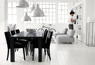 Black and white in a dining room looks very elegant.