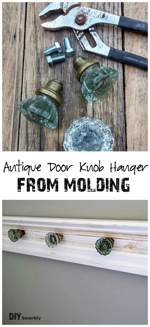 I turned a few pieces of molding and some antique glass door knobs into a stunning door knob hanger. Get the full tutorial at DIY beautify.