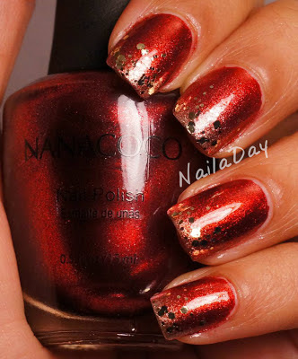 NailaDay: Nanacoco Irresistible Charm with Gold Tips