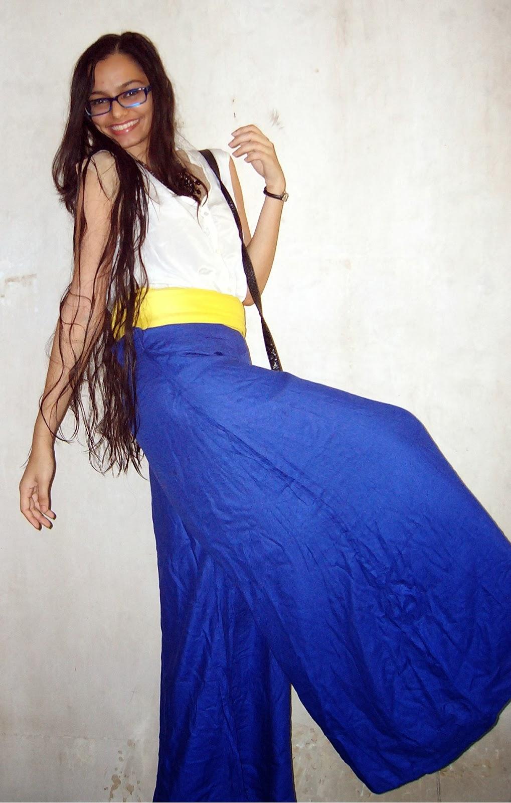 how to wear palazzos, street shopping, thrifty shopping, mumbai streetstyle, electric blue pants, oversized shirt, scarf
