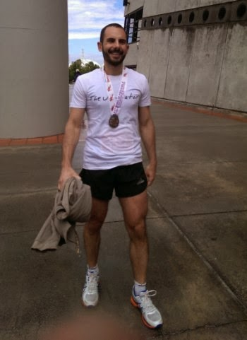 Leaving the MCG with my marathon finishers medal