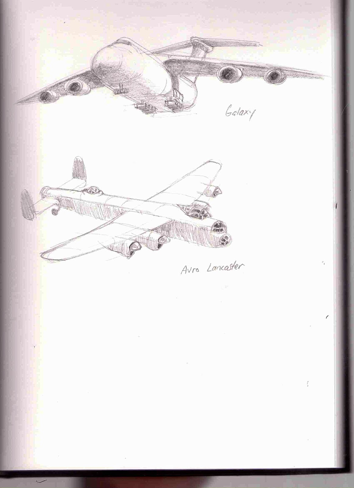 Drawings of Lockheed Galaxy & Avor Lancaster planes