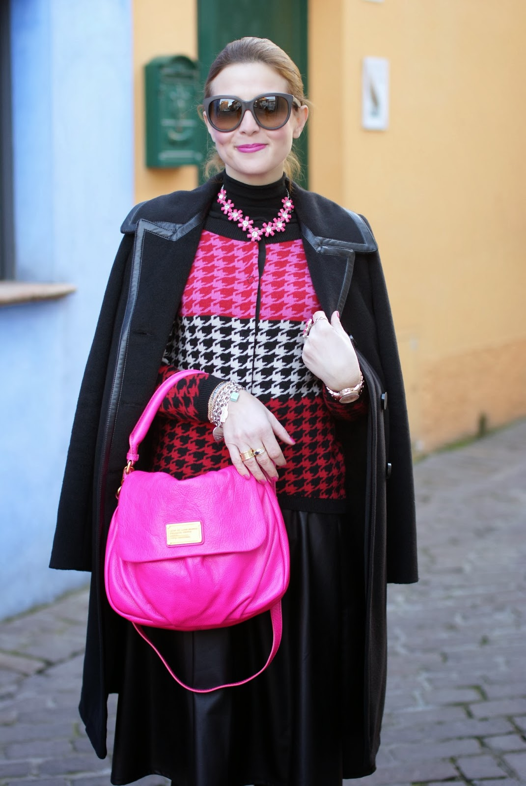 Marc by Marc Jacobs lil ukita pink bag, pied de poule cardigan, balenciaga coat, fashion and cookies, fashion blogger