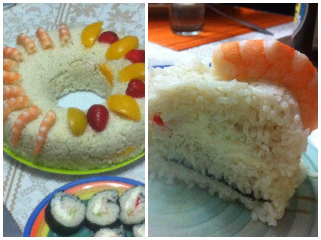 rosca de arroz frutas y/o sushi