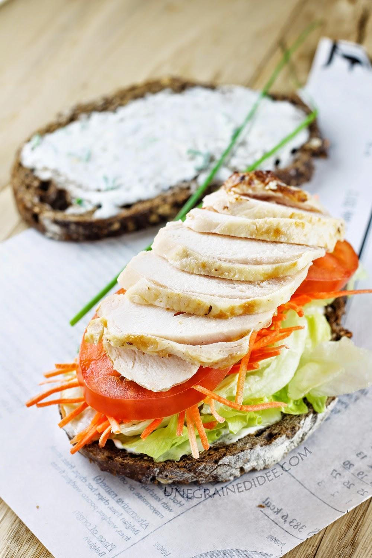 Sandwich, Poulet, Carottes, Laitue, Tomates