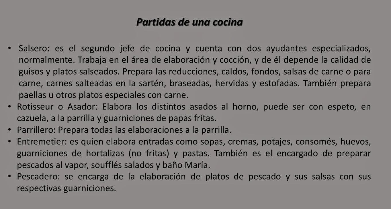 Apuntes gastron micos generalidades en la cocina - Trabajo de jefe de cocina ...