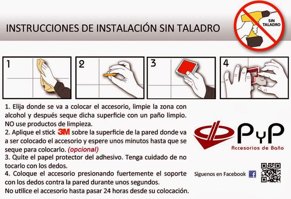 Instalaci n de accesorios sin taladro ba os y accesorios for Accesorios para bano sin taladro